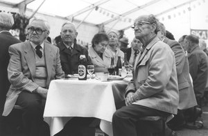 Meeting of pensioners in Winterthur in June 1986: Pensioners gazing at the stage. Source: Schweizerisches Sozialarchiv Zürich, F 5031-Fc-0999.