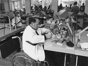 A physically handicapped man at work. Source: Social Archive of Zurich, Sozarch_F_5032-Fc-1323.