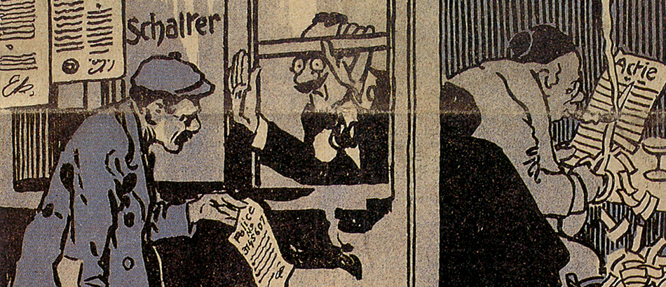 Caricature 'Liability?', Der neue Postillon, 3rd February 1912, source: 75 Jahre Suva, Lucerne 1993.